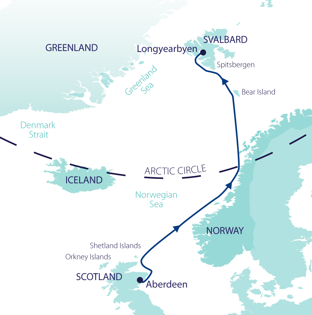 Map for Across the Arctic Circle - Scotland, Norway & Spitsbergen