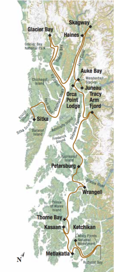 Map for Alaska's Southeast Explorer (Baranof Dream)