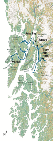 Map for Alaska's Islands, Whales & Glaciers (Misty Fjord)
