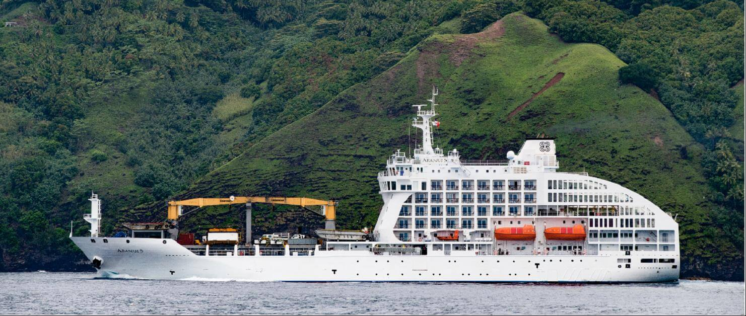 Aranui 5, the ship servicing Pitcairn Discovery Cruise