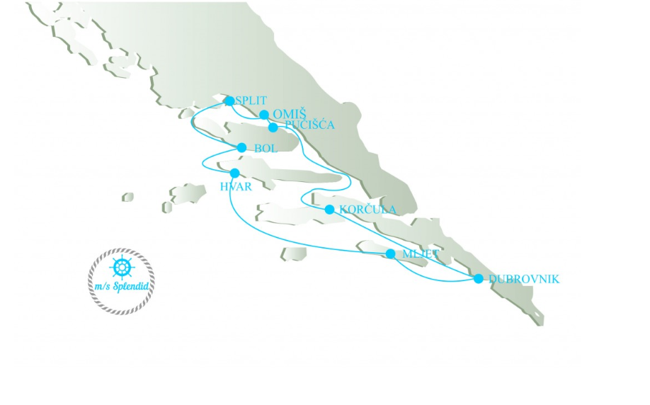 Map for Croatia Island Hopping from Dubrovnik - Premium Class