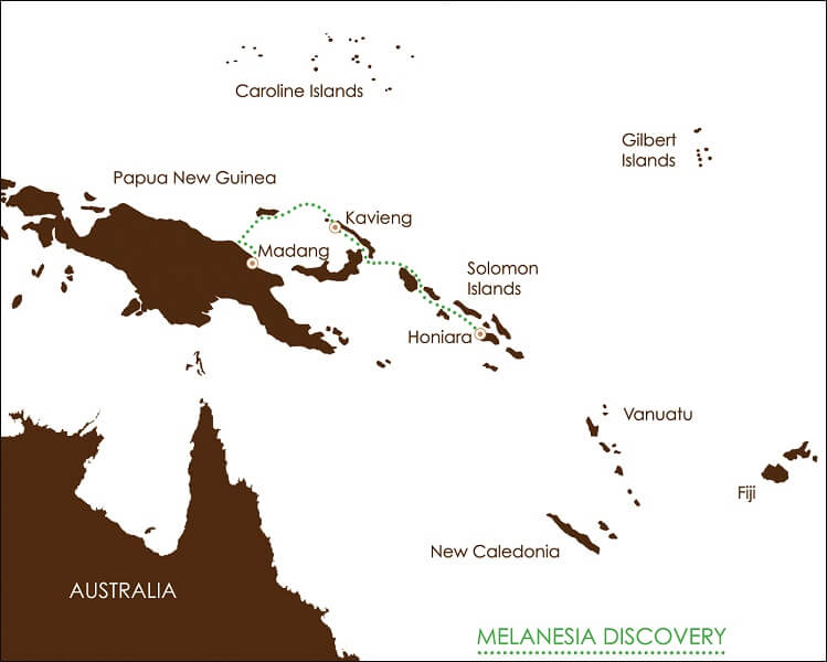 Map for South Pacific: Melanesia Discoverer
