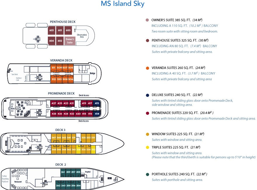 Cabin layout for Island Sky