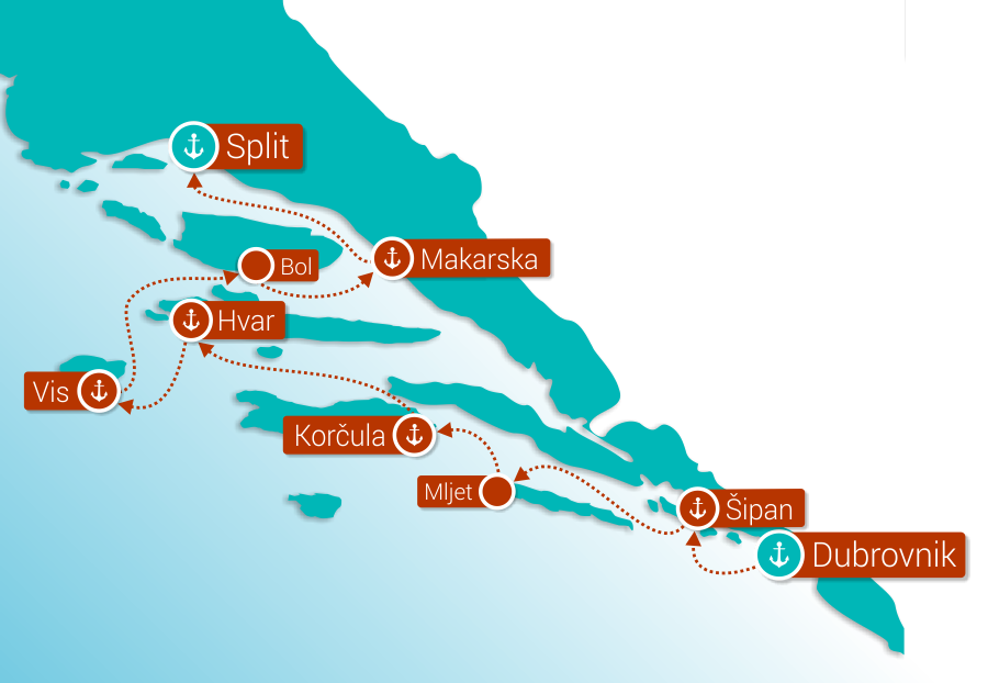 Map for Southern Pearls: Dubrovnik - Split (Premium Ships)