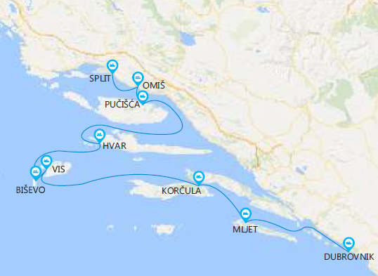 Map for Croatia Island Hopping Cruise from Dubrovnik