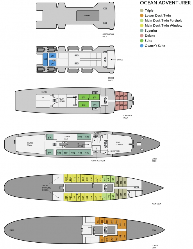 Cabin layout for Ocean Adventurer