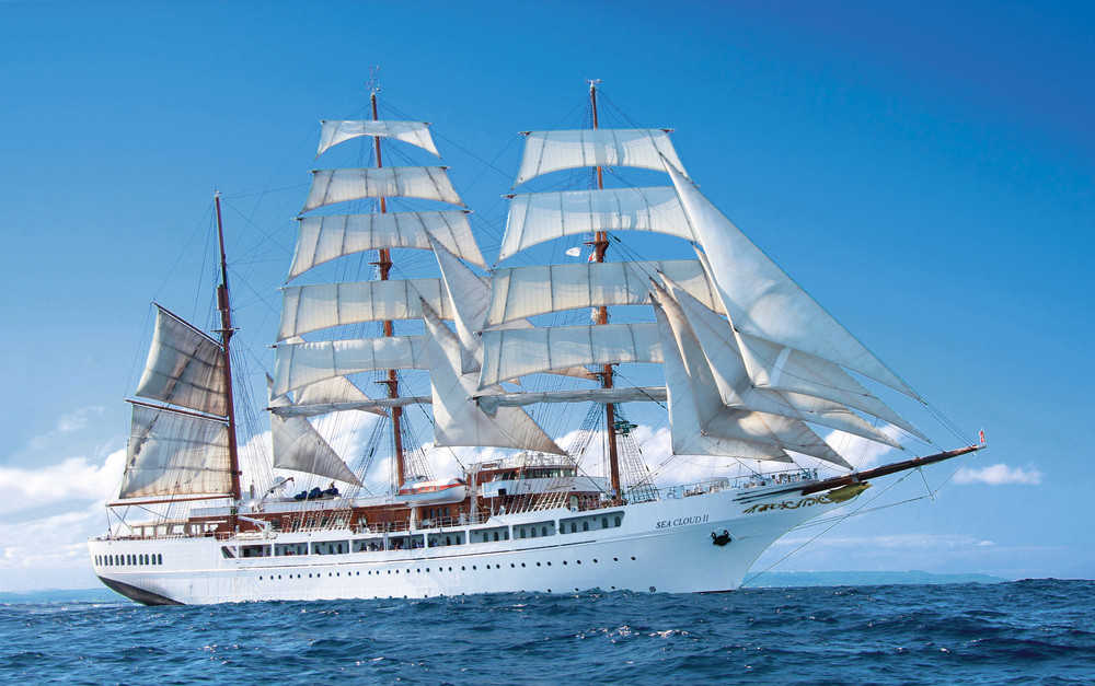 Sea Cloud II, the ship servicing Normandy, Brittany, the Channel Islands & England's South