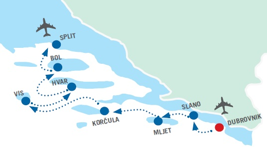 Map for Dubrovnik to Split in Style
