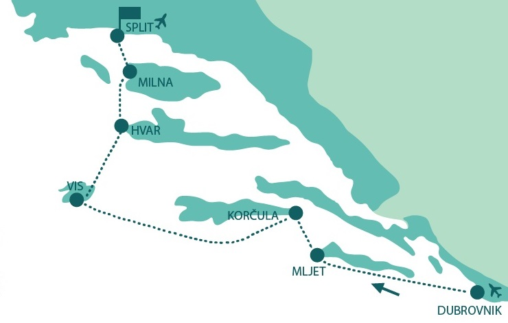 Map for Cruise from Dubrovnik to Split in Luxury