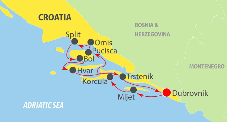 Map for Dubrovnik Luxury Cruise