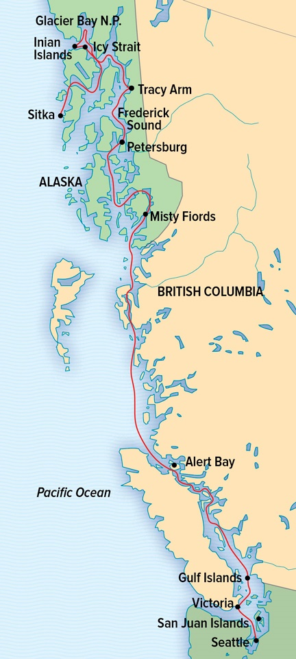 Map for Treasures of the Inside Passage (NG Venture)