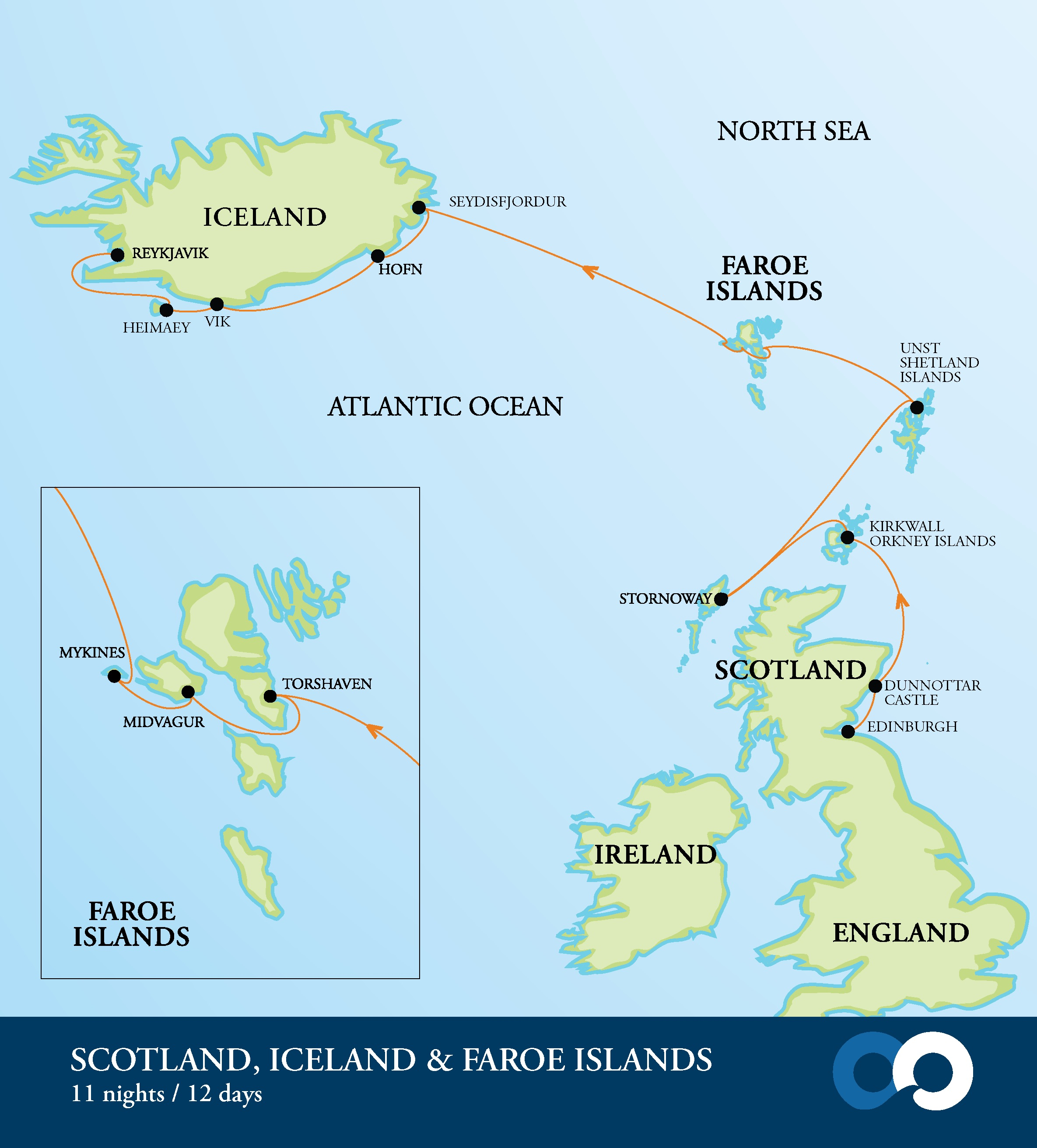 Map for Scotland, Faroe Islands & Iceland: Footsteps of Vikings and Gaels