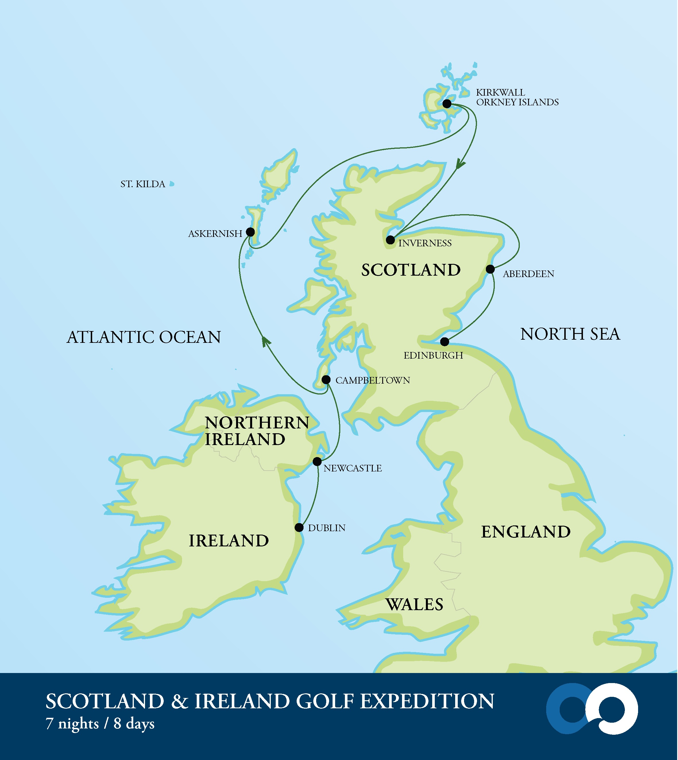 Map for Scotland & Ireland Golf Expedition (RCGS Resolute)