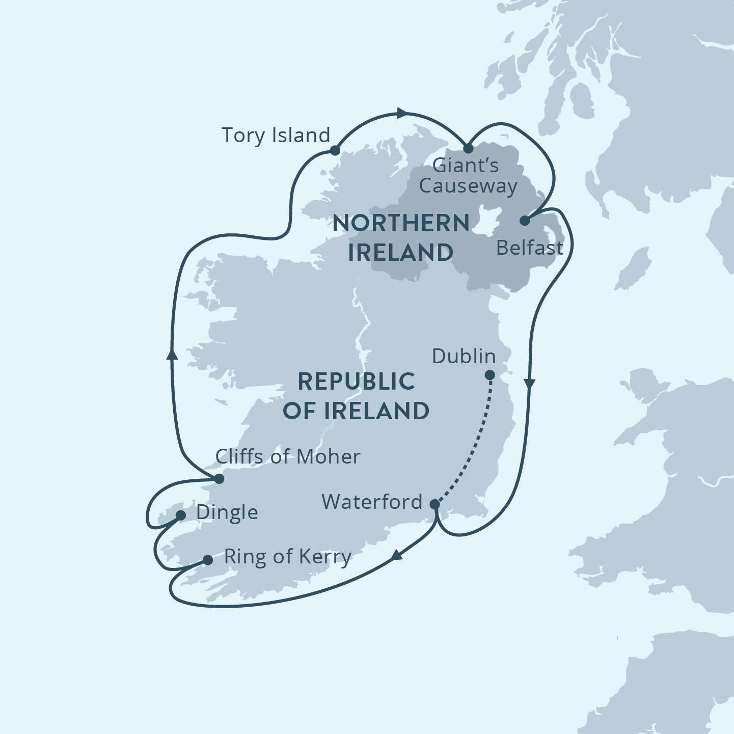 Map for Ireland Circumnavigation