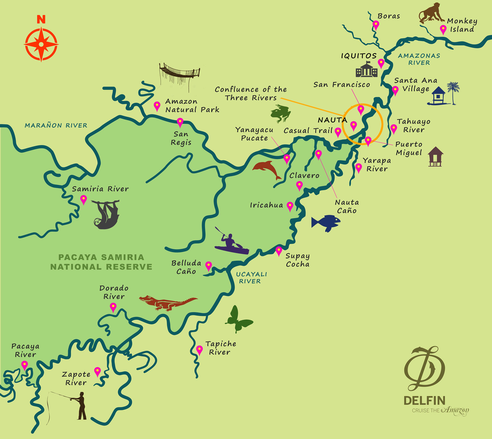 Map for Amazon River Cruise (5 days) Delfin II