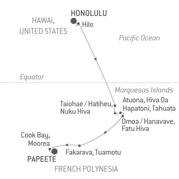 Map for Hawaii & French Polynesia