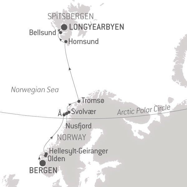 Map for Fjords & Spitsbergen