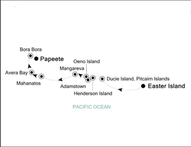 Map for From Easter Island to Tahiti (Silver Explorer)