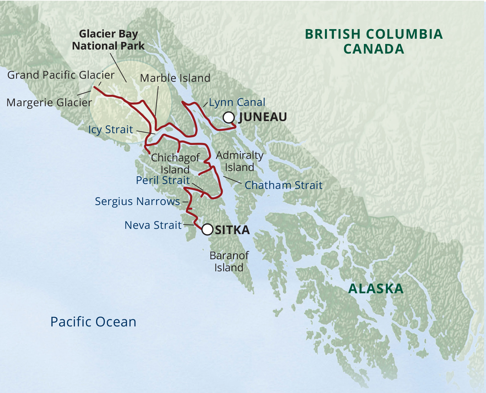 Map for Northern Passages & Glacier Bay (Wilderness Discoverer)