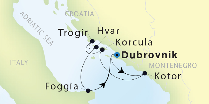 Map for Adriatic Luxury 8 Day Cruise