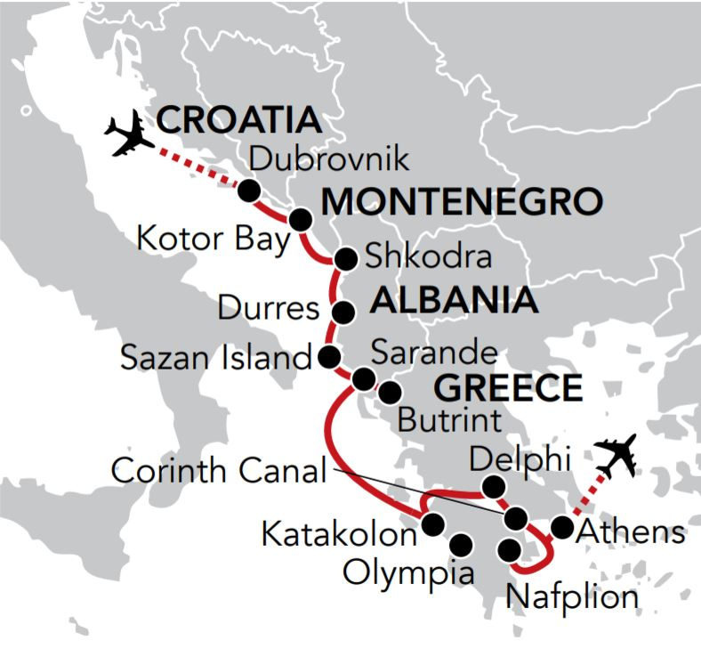 Map for Adriatic & Aegean Odyssey