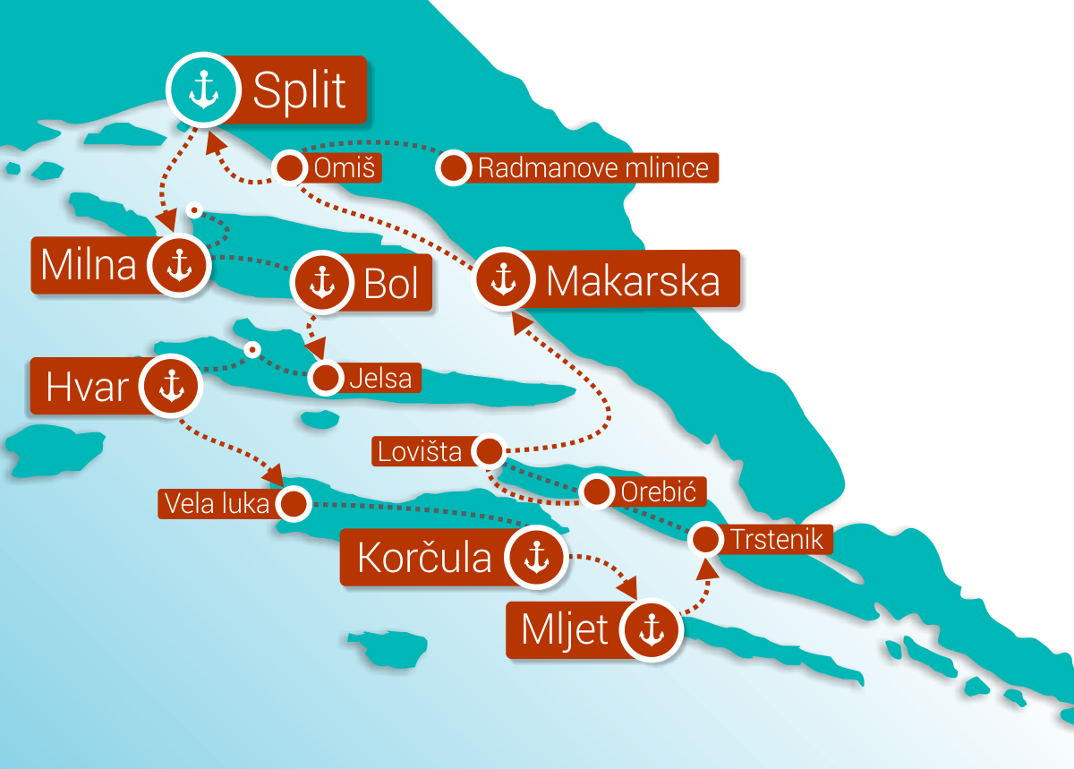 Map for Croatia Bike & Cruise from Split