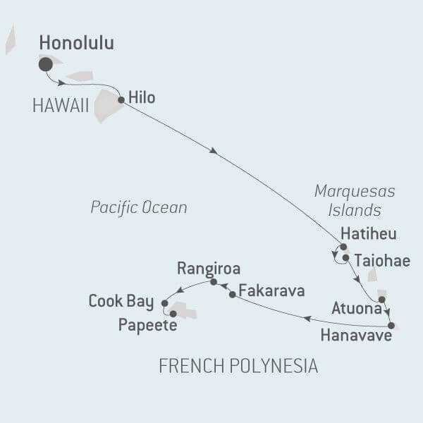 Map for Hawaii and French Polynesia