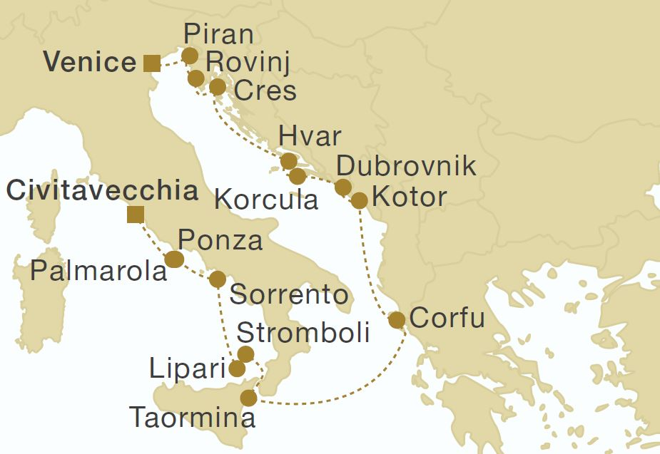 Map for Italy, Montenegro & Croatia Cruise - 15 Days (Royal Clipper)