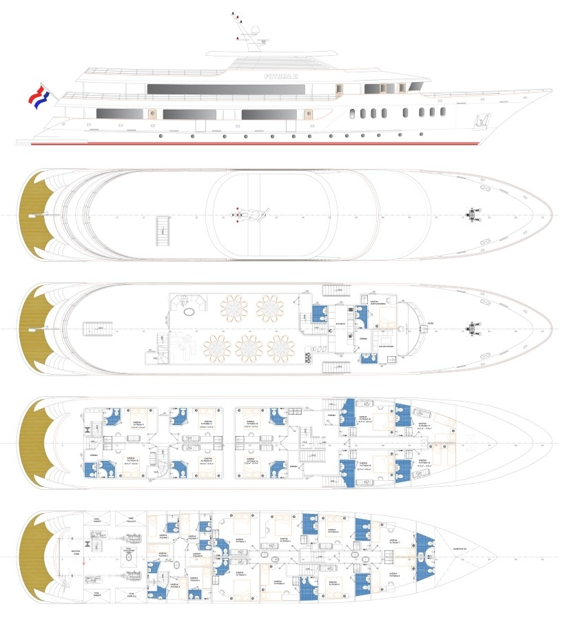 Cabin layout for Croatian Deluxe Superior Ships