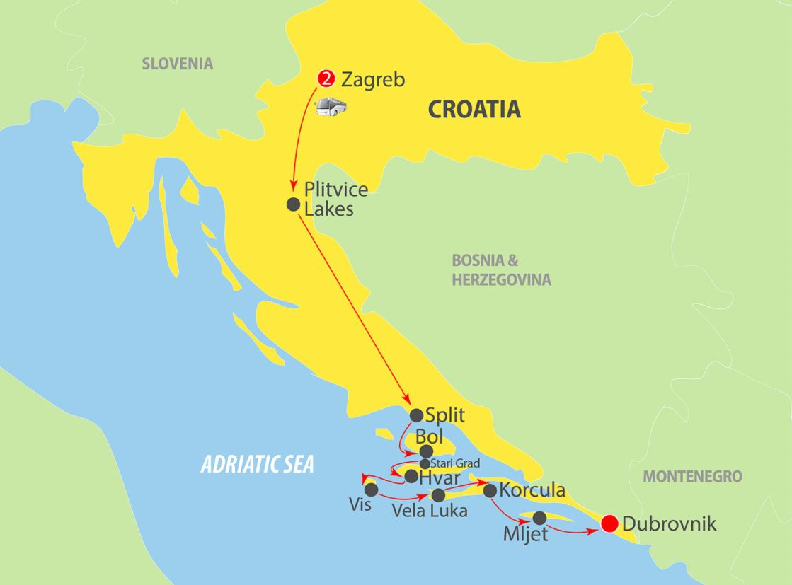 Map for Zagreb to Dubrovnik in Luxury (Prestige)