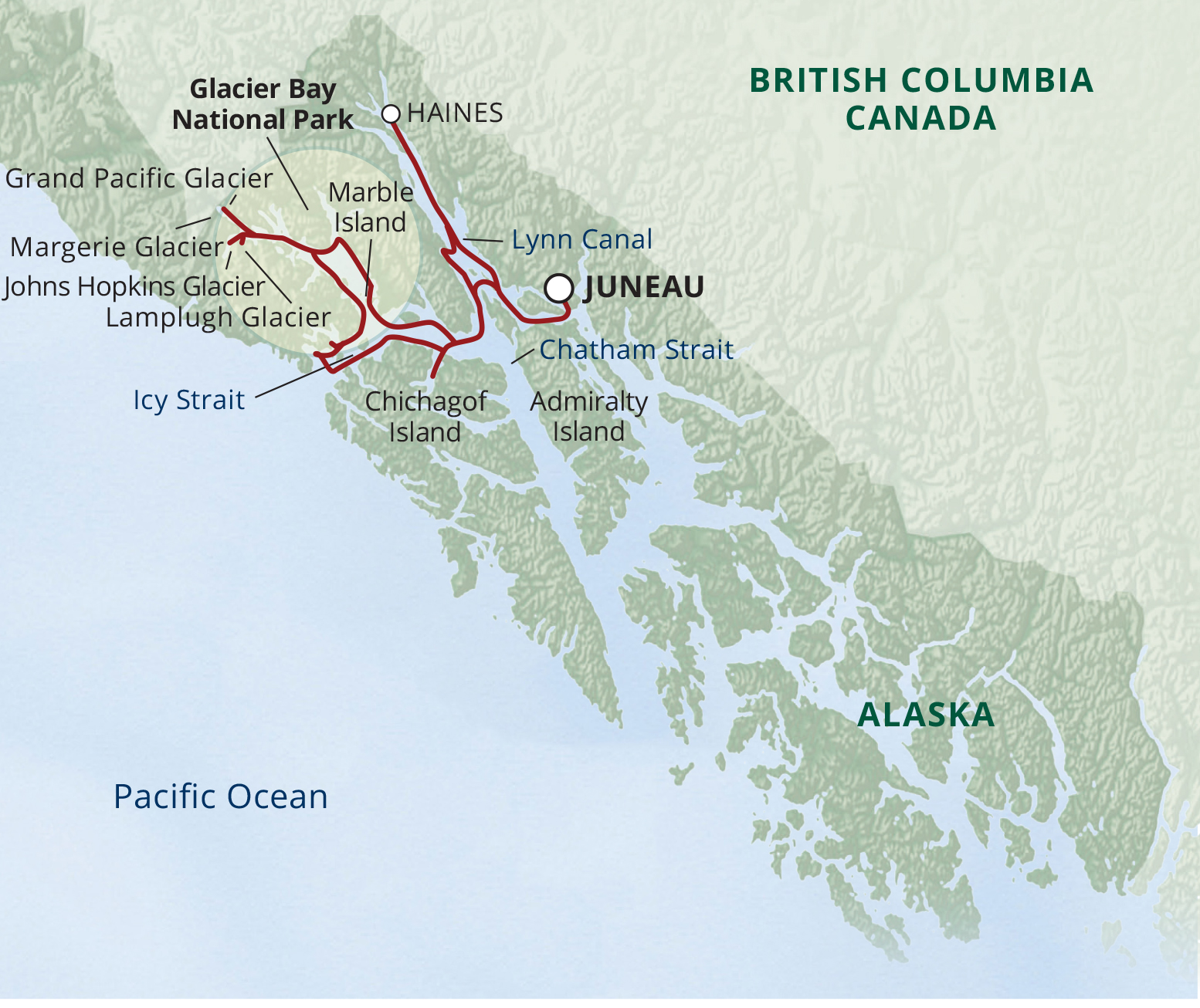 Map for Glacier Bay National Park Adventure Cruise