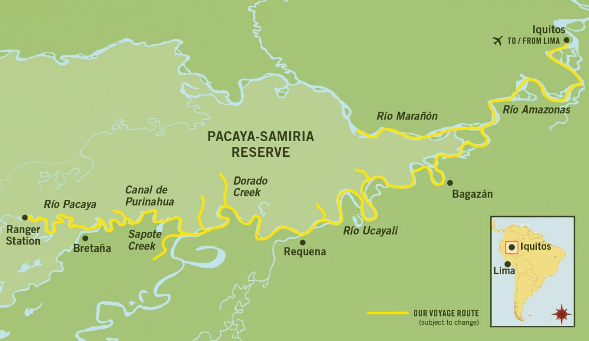 Map for Amazon River Cruise La Estrella