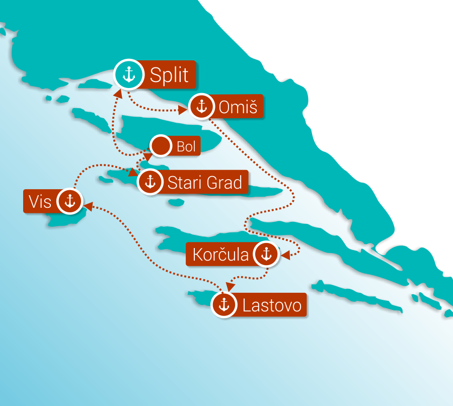 Map for Split and the islands cruise