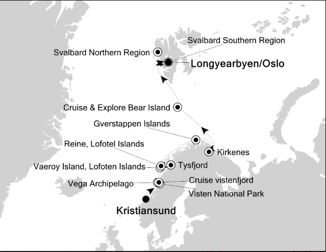 Map for From the Norwegian Fjords to the Ice Edge