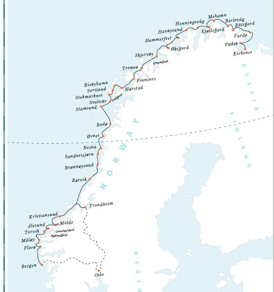 Map for Classic Voyage North: Bergen – Kirkenes