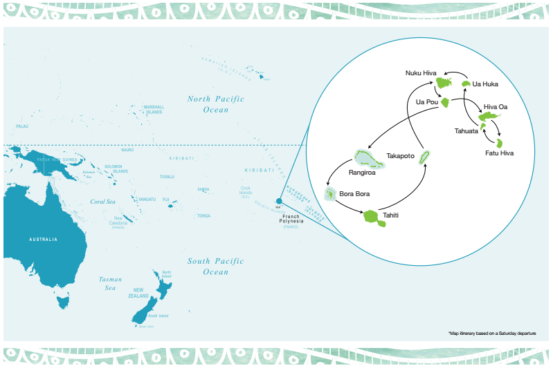 Map for Enchanting Marquesas Islands of French Polynesia