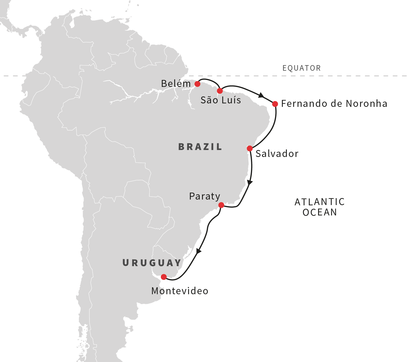 Map for The Gems of the Brazilian Coast