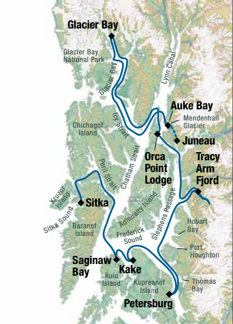 Map for Alaska's Glacier Bay Adventure (Chichagof Dream)