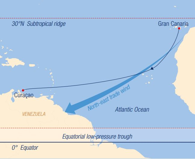 Map for Across the Atlantic: from Las Palmas to Curaçao