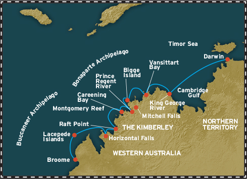Map for The Kimberley From Broome (Coral Expeditions I)