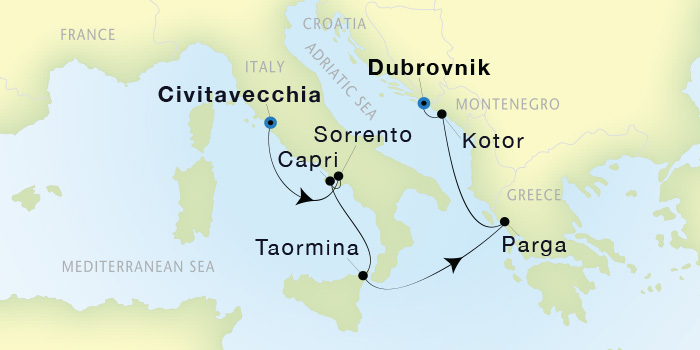 Map for Luxury Mediterranean: From Rome to Dubrovnik