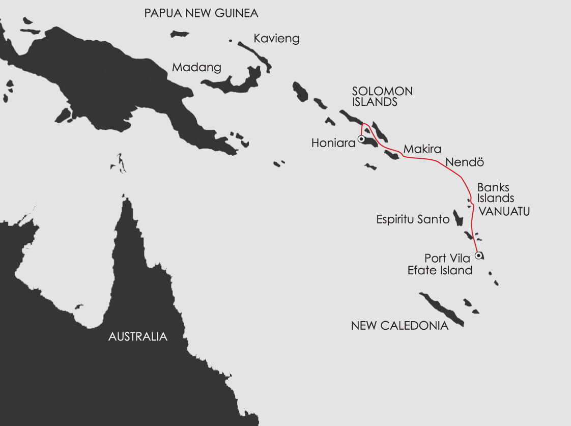 Map for South Pacific: Secrets of Melanesia
