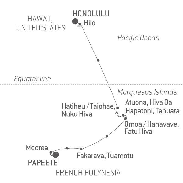 Map for French Polynesia & Hawaii