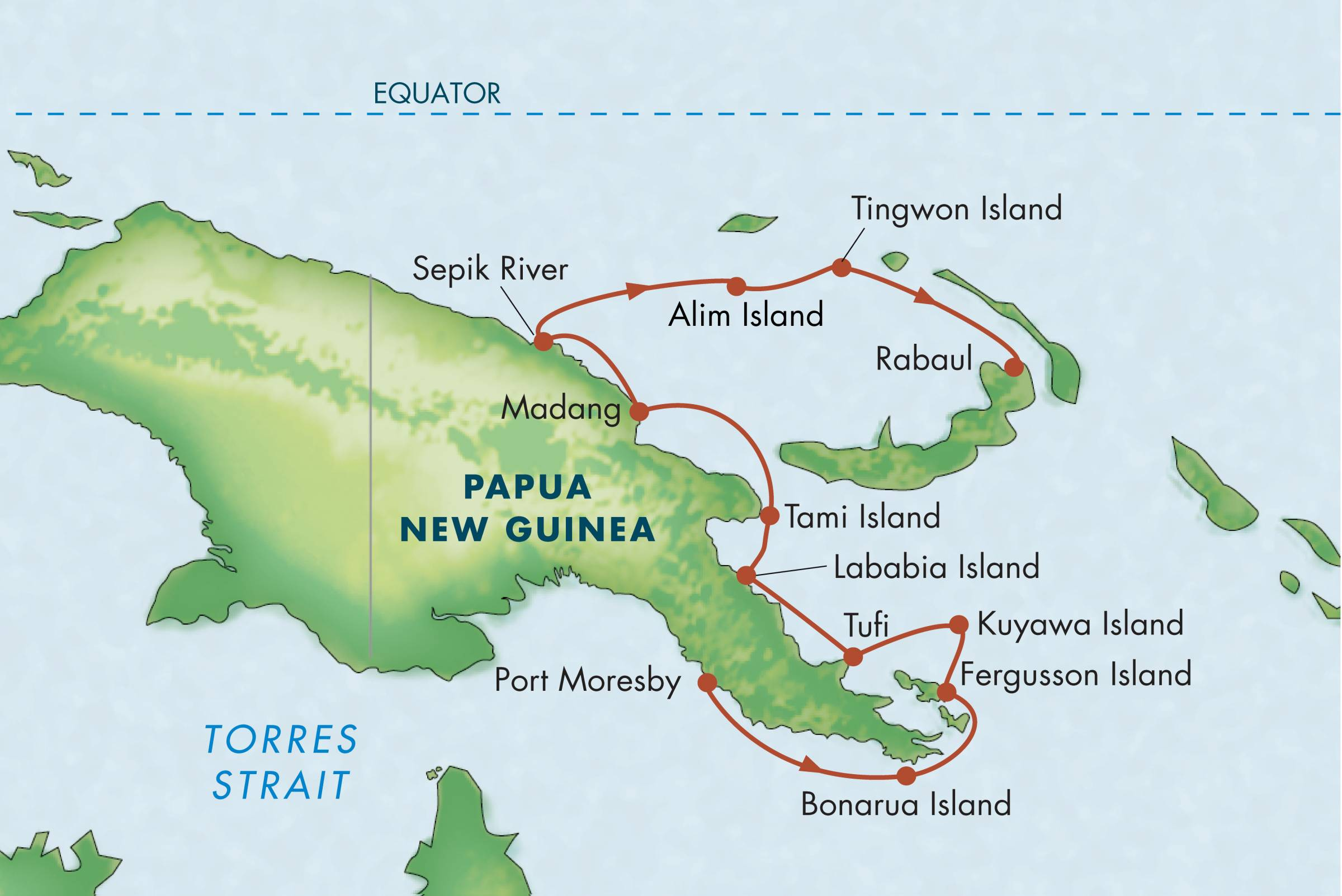 Map for Papua New Guinea Adventure
