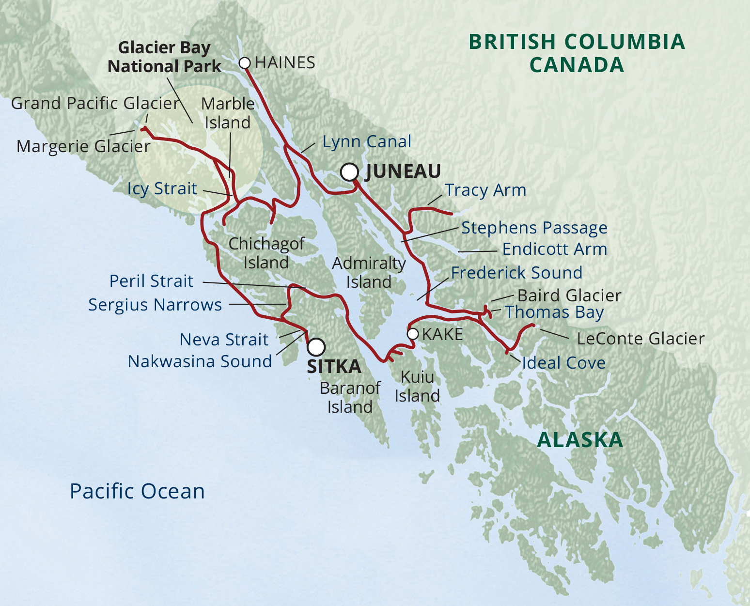 Map for Alaska Glacier Cruise—Ultimate Expedition (Safari Endeavour)