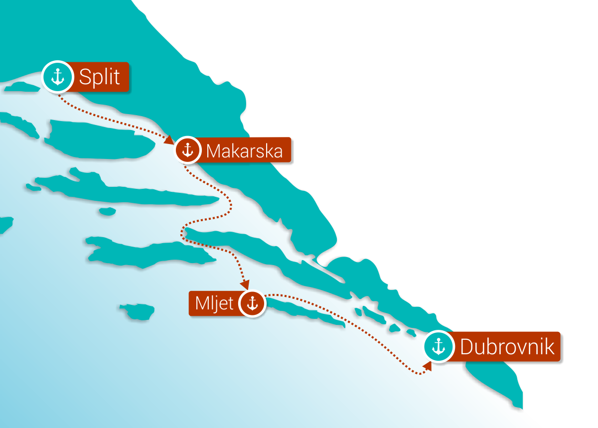 Map for Mini Cruise: From Split to Dubrovnik