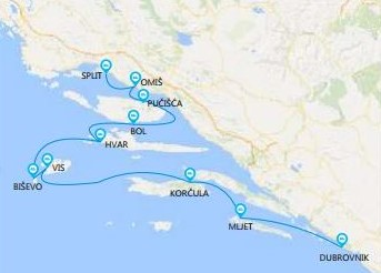 Map for Split to Dubrovnik cruise - Premium class